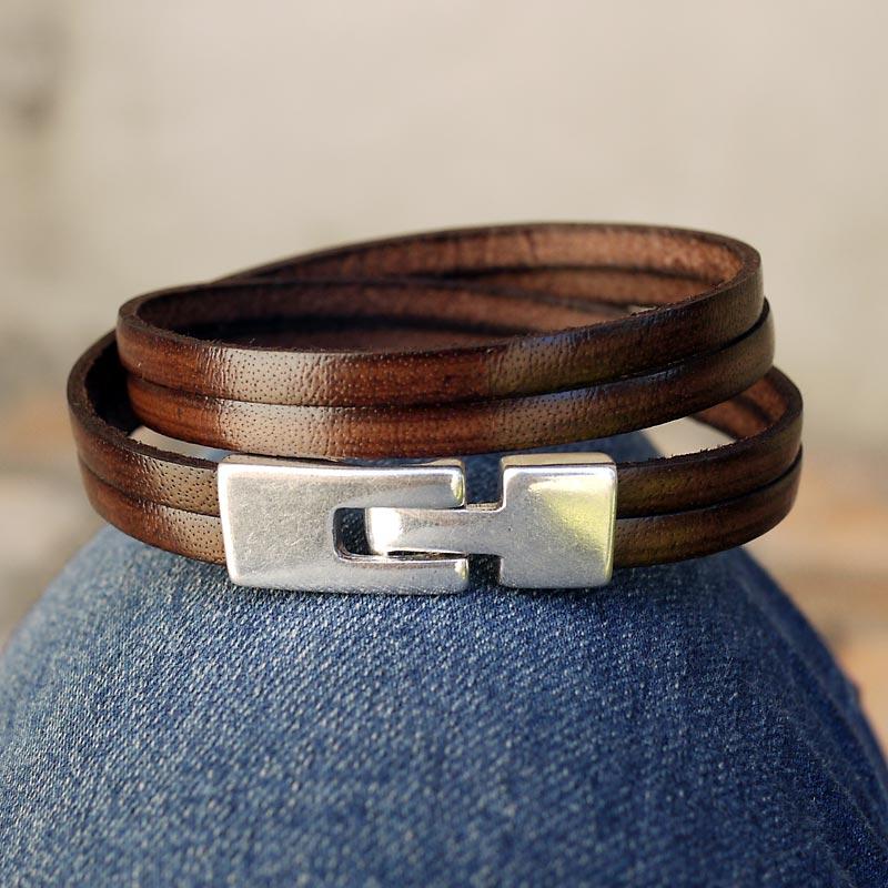 bracelet cuir homme fermoir argent 2 tours de poignet cuir. Black Bedroom Furniture Sets. Home Design Ideas