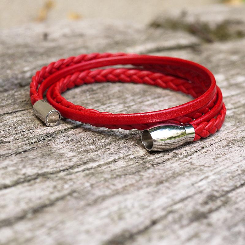 Femmes 6 mm brun-rouge tressé en cuir /& Bracelet en Acier Inoxydable-Lyme Bay Art.