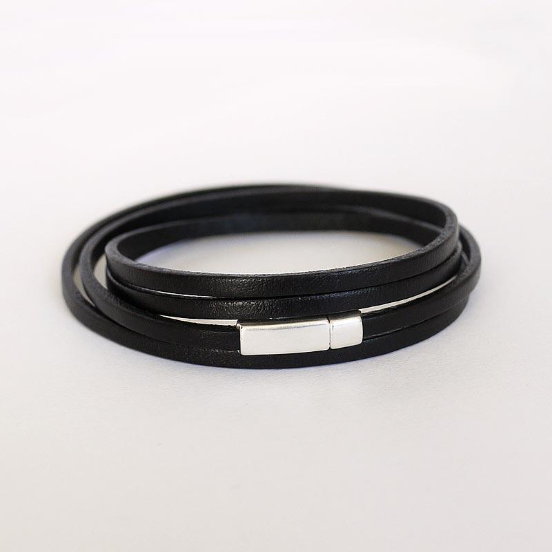 bracelet,cuir,femme,3mm,aimant,noir,010
