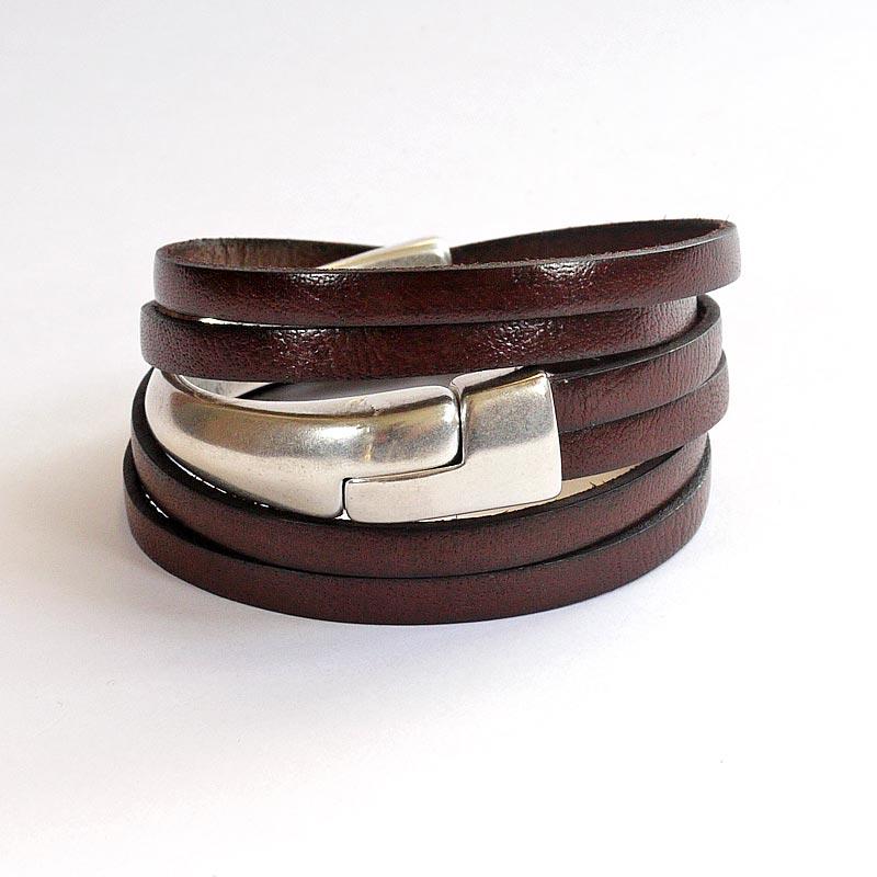 Achat en vente en ligne Meilleure vente Bracelet cuir demi-jonc Marron