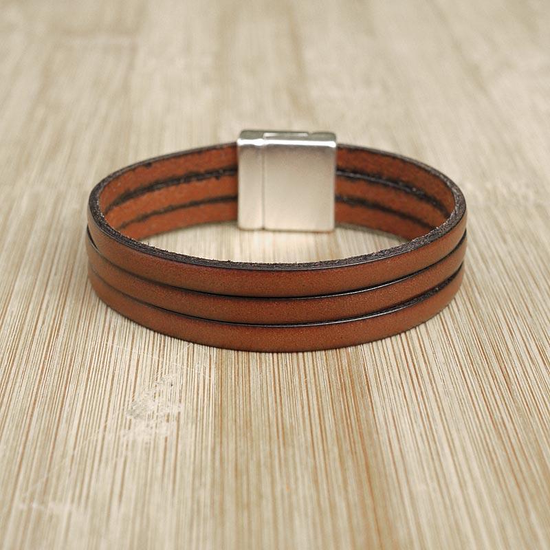bracelet cuir artisanal homme classic marron fifi brin. Black Bedroom Furniture Sets. Home Design Ideas