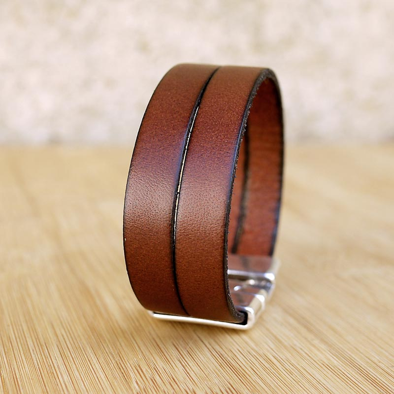 bracelet cuir homme artisanal 20mm 2 lanieres marron. Black Bedroom Furniture Sets. Home Design Ideas