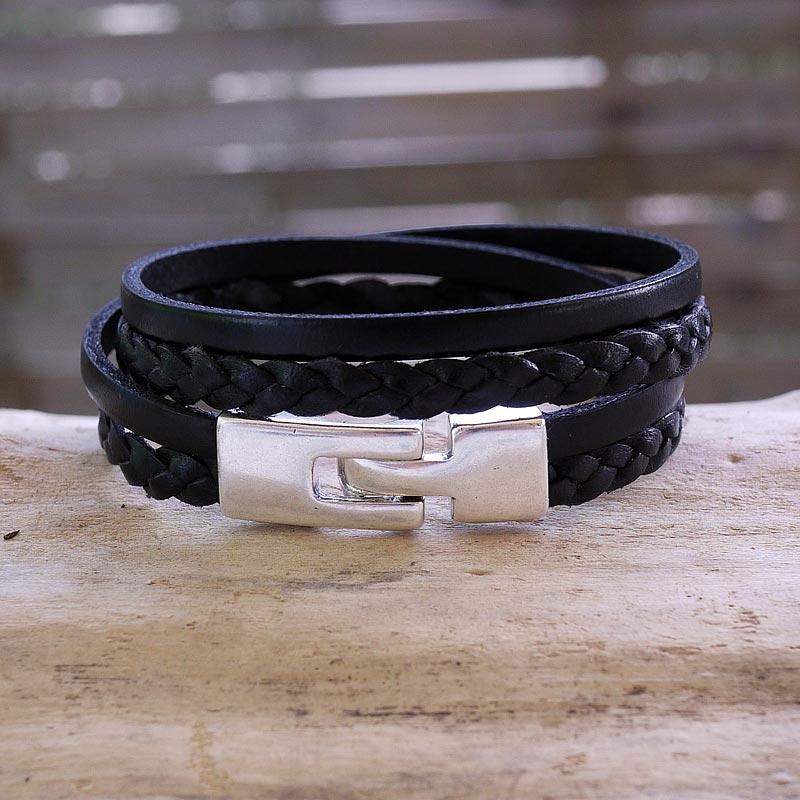 bracelet cuir artisanal homme cuir tress noir fifi brin. Black Bedroom Furniture Sets. Home Design Ideas