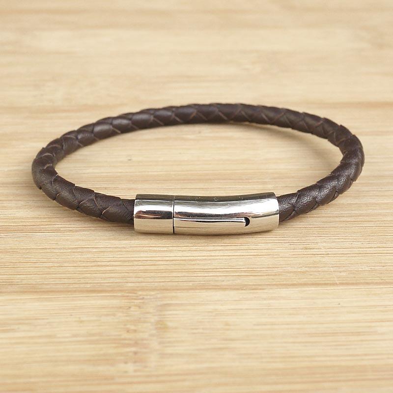 bracelet cuir tress artisanal homme cuir marron fifi. Black Bedroom Furniture Sets. Home Design Ideas
