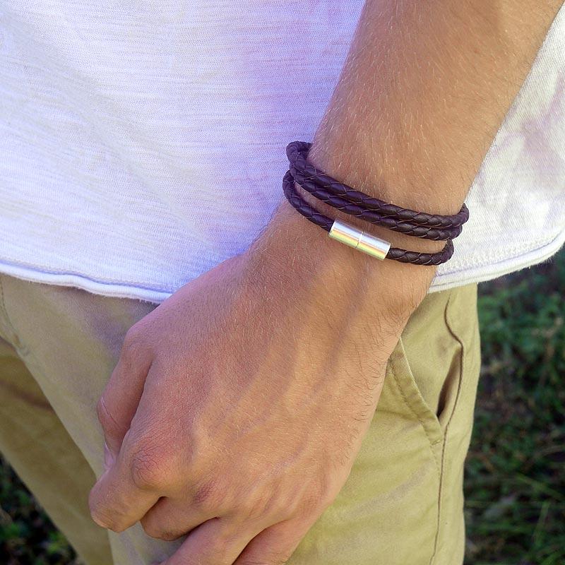 Bracelet en cuir marron pour homme