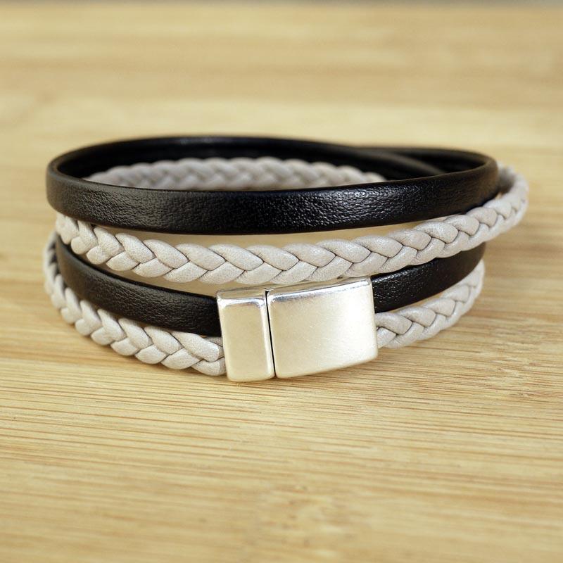 bracelet cuir et argent homme