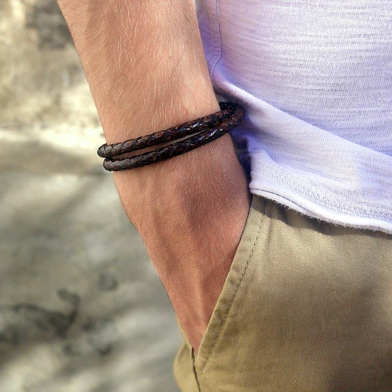 bracelet cuir artisanal tress marron vintage pour homme. Black Bedroom Furniture Sets. Home Design Ideas