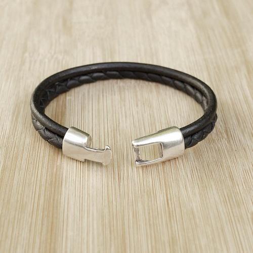 bracelet cuir artisanal homme cuir rond tress 2 lani res. Black Bedroom Furniture Sets. Home Design Ideas