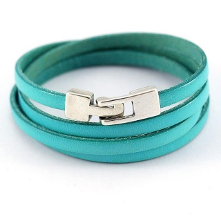Handmade women's wrap leather bracelet simple - turquoise